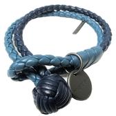 BOTTEGA VENETA 寶緹嘉 深藍淺藍色編織手環 Lather Bracelet 【BRAND OFF】