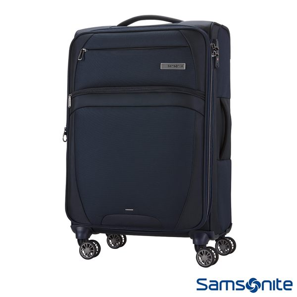 Samsonite新秀麗 24吋 Zira飛機輪可擴充布面TSA行李箱(海軍藍)