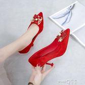 2019新款龍鳳扣綢緞秀禾鞋婚鞋中式尖頭細高跟水晶鞋紅色新娘鞋女   (PINKQ)