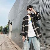 韓版格子襯衫男裝長袖寬鬆chic襯衣港風百搭寸上衣服外套潮流  凱斯盾數位3C