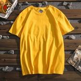 原宿潮牌純色文藝藍標春季打底男士純棉短袖男生青少年學生T恤