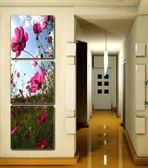 現代無框畫豎版玄關裝飾畫走廊三聯掛壁畫冰晶玻璃墻畫藍天格桑花LG-67045
