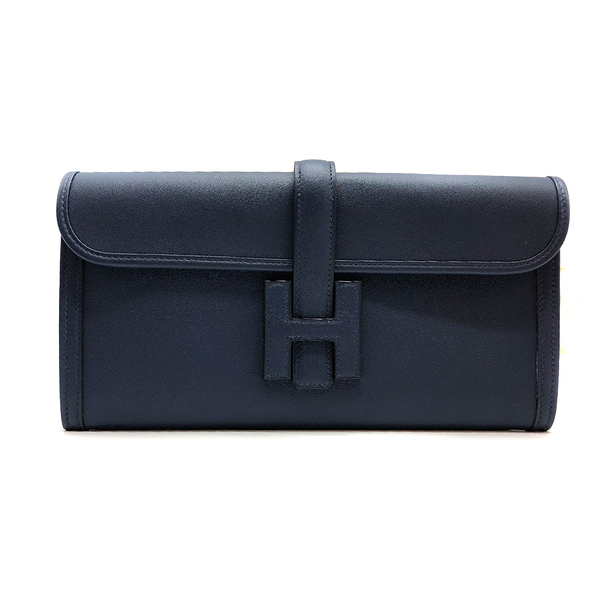 【台中米蘭站】全新品 HERMES JIGE ELAN 29 牛皮手拿包晚宴包 (深藍)