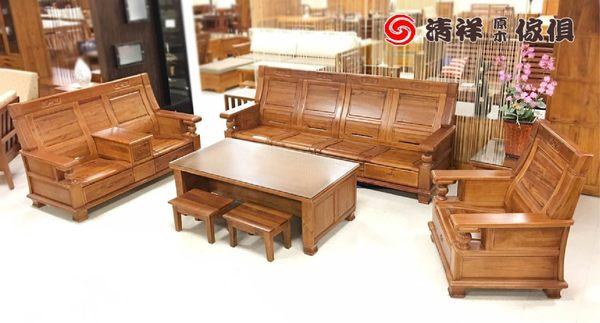 【清祥傢俱】K-808樟木板椅沙發組 全實木板椅 大茶几 小茶几 板凳 小椅子(現貨)