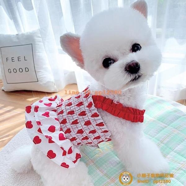 愛心連身裙夏季薄款寵物泰迪比熊貓咪博美貴賓狗狗衣服小型犬小狗狗【小獅子】