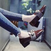 單鞋  高跟鞋女鞋子春季新款韓版百搭淺口方頭瑪麗珍粗跟奶奶單鞋子   唯伊時尚