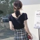 露背上衣大V領雞心前后露背交叉漏鎖骨純棉短袖黑T恤女半袖緊身上衣打底衫萊俐亞美麗