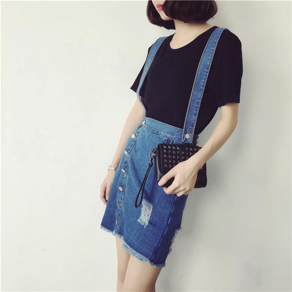 裙子 學院風斜邊鈕扣設計吊帶裙N2