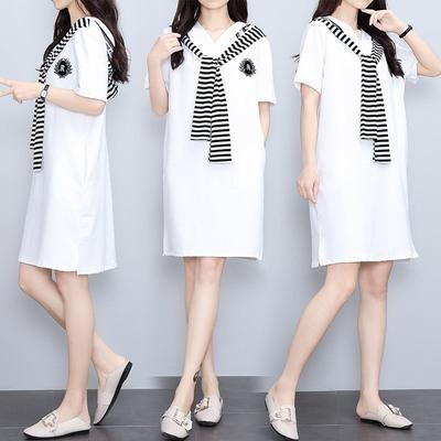 M-4XL胖妹妹大碼洋裝連身裙~胖MM減齡海軍風拼接條紋短袖中長款連身裙NB24E莎菲娜