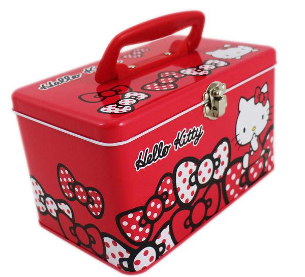 【卡漫城】 Hello Kitty 紅 手提 鐵盒 收納箱 ㊣版 兒童 玩具盒 收納盒 收藏 首飾盒 蝴蝶節 手提盒