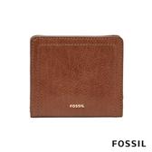 FOSSIL LOGAN 真皮系列拉鍊零錢袋設計短夾-咖啡色 SL7829200