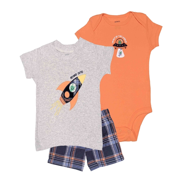 男寶寶套裝三件組 短袖包屁衣+T恤上衣+短褲 灰火箭 | Carter s卡特童裝 (嬰幼兒/小孩/baby)