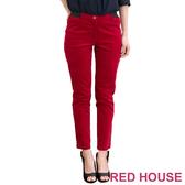 【RED HOUSE-蕾赫斯】彈性修身絨長褲(紅色)