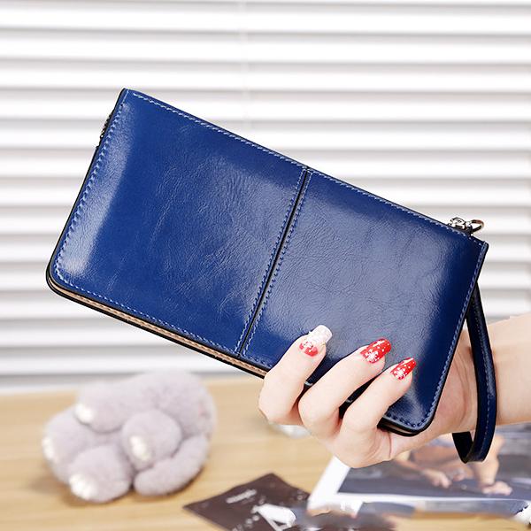 Qmishop 韓版氣質簡約 三層大容量 拉鍊 手拿包 女皮夾長夾皮包包【QJ512】