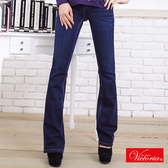 Victoria V字燙鑽丹寧牛仔靴型褲-女-深藍-VW1159