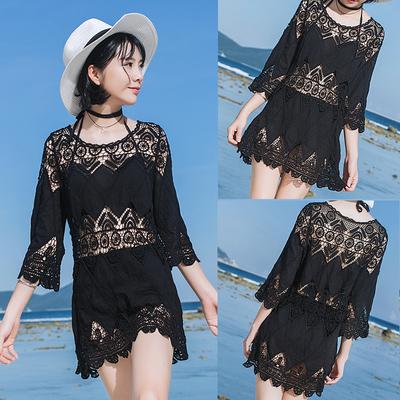 罩衫女夏季海邊度假溫泉泳衣外套鏤空蕾絲寬松防曬沙灘外搭TBF-10B快時尚