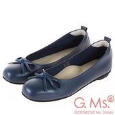 G.Ms. MIT系列-牛皮蝴蝶結方頭娃娃鞋-深藍