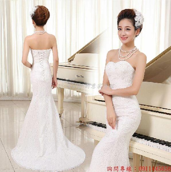 (45 Design) 客製化 預購7天到貨   新款韓版婚紗禮服 收腰魚尾紅色抹胸蕾絲新娘婚紗綁帶小拖尾