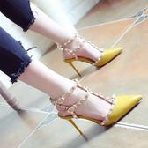 夏季新款淺口時尚鉚釘尖頭鞋細跟高跟鞋一字扣涼鞋女
