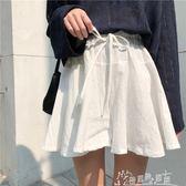 韓國夏季學院風百搭寬鬆鬆緊腰繫帶純色棉麻短褲裙褲顯瘦寬管褲女 奇思妙想屋