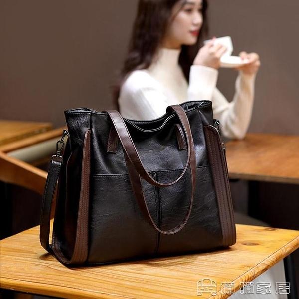 手提包 大容量真皮羊皮軟皮大包包女新款潮手提包單肩女包斜背包時尚 交換禮物