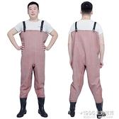全身加厚橡膠下水褲半身雨褲防水釣捉魚防污皮叉挖藕服連身衣 1995雜貨