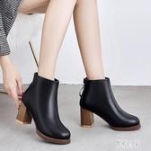短靴女2019新款馬丁靴女英倫風學生韓版百搭冬季高跟粗跟靴 XN7313【彩虹之家】