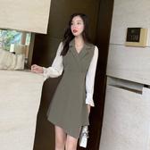 VK精品服飾 韓系優雅氣質顯瘦西裝領不規則下擺長袖洋裝