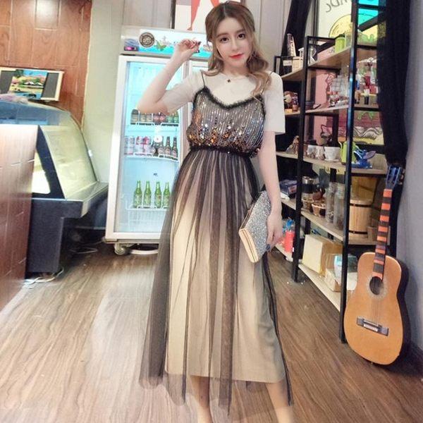 中大尺碼 2018夏裝新款洋裝兩件套網紗吊帶裙套裝 st1035『伊人雅舍』