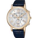 CITIZEN 星辰 XC 亞洲限定光動能計時女錶-玫瑰金框x藍/38mm FB1432-21A