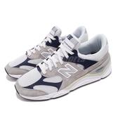 New Balance 慢跑鞋 NB X90 灰 藍 透氣網布 麂皮 全新鞋款 運動鞋 男鞋【ACS】 MSX90RPBD