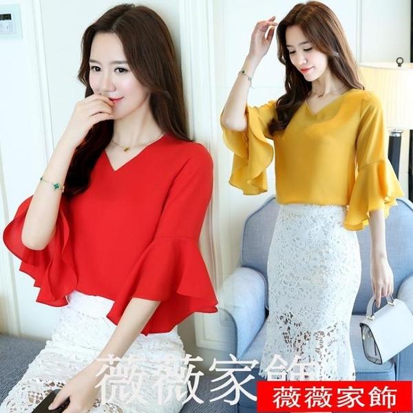 短袖雪紡上衣 短袖雪紡衫女裝夏裝2021新款韓版潮流黃色小衫時尚百搭喇叭袖上衣 薇薇