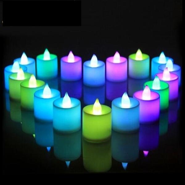 七彩 LED 蠟燭 LED蠟燭燈(24入/盒) 排字蠟燭(單色 七彩皆有) 24HR火速出貨 小夜燈 安全蠟燭【塔克】