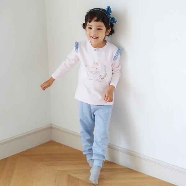 【北投之家】女童睡衣套裝二件組 荷葉邊雙面棉九分袖上衣+長褲 粉兔兔   正韓童裝 (兒童/小朋友)