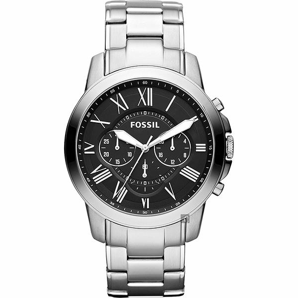 FOSSIL Grant 旗艦三眼計時手錶-黑x銀/44mm FS4736IE
