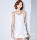 中大尺碼襯裙 吊帶背心女中長款內搭打底連身裙夏季修身性感洋裝 HT7008