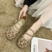 現貨娃娃鞋 孕婦軟底豆豆鞋女2020夏新款鏤空平底綁帶舞蹈鞋學生單鞋百搭娃娃 小宅女6-24
