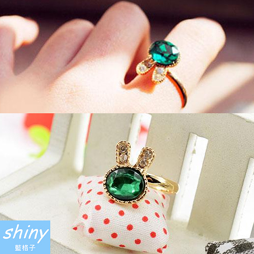 【30A71】shiny藍格子-可愛小物.精緻水鑽海綠寶石兔子戒指