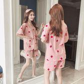 日式和服短袖韓版睡衣女夏季甜美可愛清新學生可外穿夏天兩件套裝