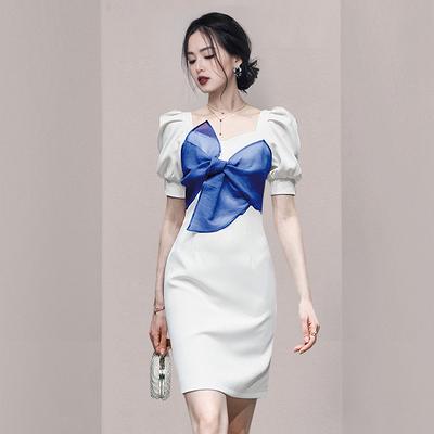OL洋裝小禮服裙3287藍#夏季女蝴蝶結紗泡泡短袖法式方領甜美連身裙約會減齡NA07快時尚