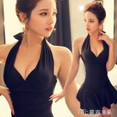 連體裙式鋼托小胸聚攏性感泳衣女遮肚顯瘦保守韓國大碼溫泉游泳衣      麥吉良品