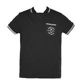 【南紡購物中心】ARMANI JEANS 口袋LOGO印花滾邊短袖POLO衫-黑