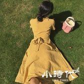 棉麻洋裝-復古小清新顯瘦小心機短袖棉麻格子連身裙女夏裝新中長款裙子
