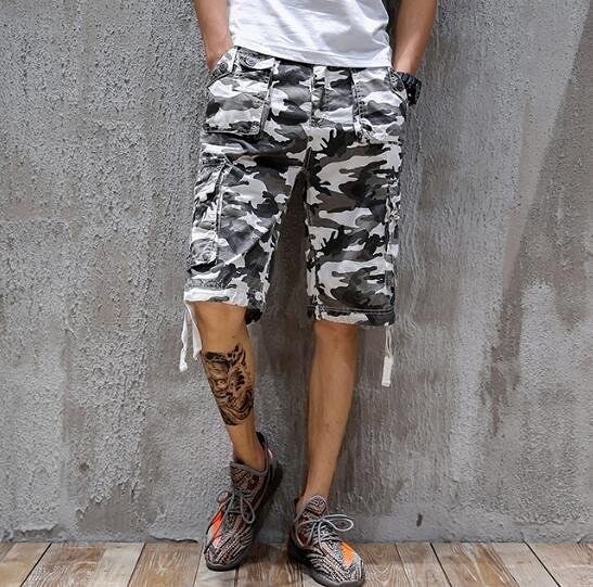找到自己 MD 日系 時尚 潮 男 休閒多口袋 迷彩 水洗工裝褲 五分褲 中褲 休閒短褲 海灘短褲