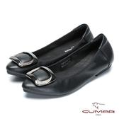 ★新品上市★【CUMAR】舒適真皮 水鑽金屬裝飾平底包鞋(黑色)