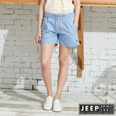 【JEEP】女裝 經典百搭抽繩短褲-藍色