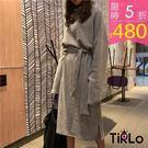 連身裙-Tirlo-推薦!小高領衛衣連身裙(含腰帶)-三色(現+追加預計5-7工作天出貨)