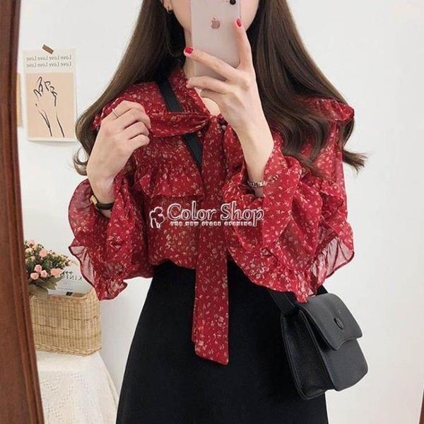 紅色雪紡上衣女長袖時尚春小衫新款碎花襯衫女超仙洋氣打底衫 快速出貨