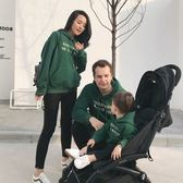 辰辰媽親子裝大學T一家三口裝綠色加絨嬰兒連帽大學T父子裝母子母女第七公社