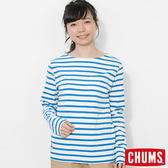 CHUMS 日本 女 條紋長袖T恤 白/湖水藍 CH111209W026